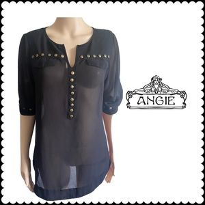 ANGIE V-Neck Embellished Sheer Boho large Top
